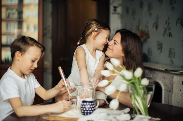 Mom and children